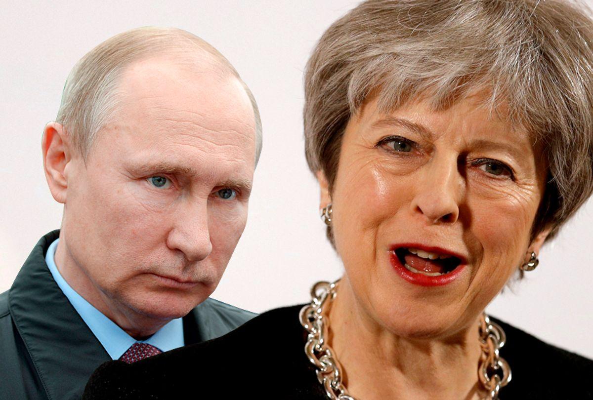 Vladimir Putin; Theresa May (AP/Alexei Nikolsky/Peter Nicholls/Salson)