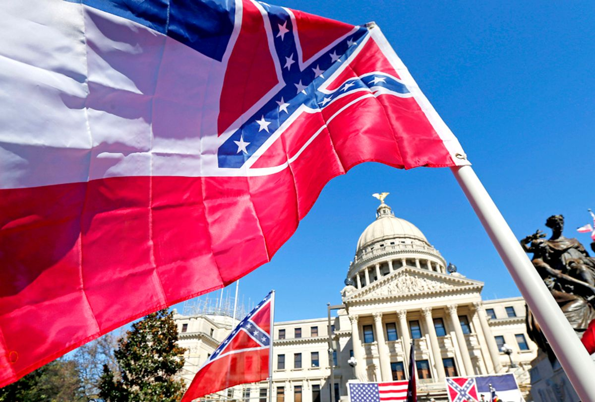 Mississippi state flag in front of the state Capitol in Jackson, Mississippi. (AP/Rogelio V. Solis)
