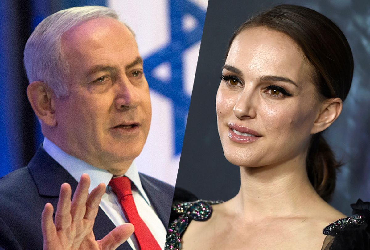 Benjamin Netanyahu; Natalie Portman (AP/Sebastian Scheiner/Jordan Strauss)
