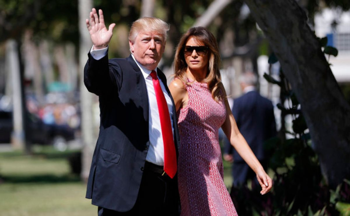 President Donald Trump and first lady Melania Trump arrive for Easter services at Episcopal Church of Bethesda-by-the-Sea, in Palm Beach, Fla., Sunday, April 1, 2018. (AP Photo/Pablo Martinez Monsivais) (AP)