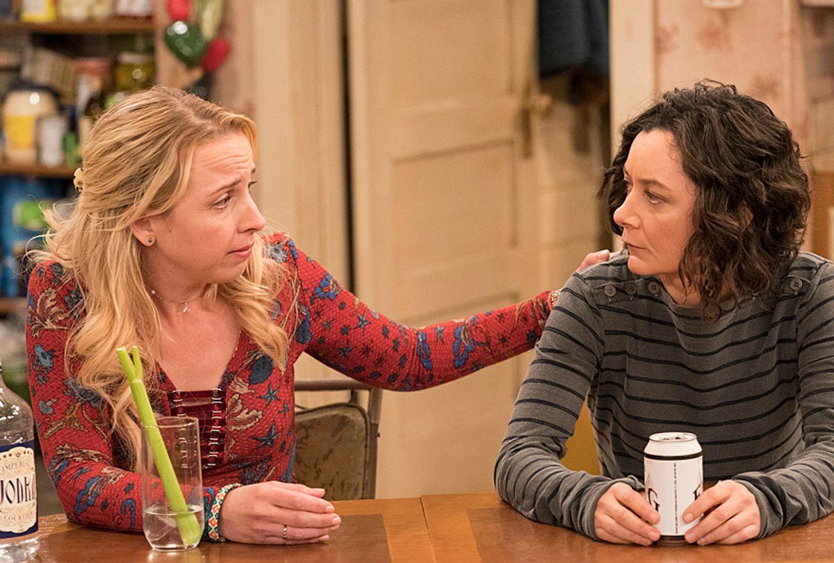 "Lecy Goranson and Sara Gilbert in ""Roseanne"" (ABC/Greg Gayne)"