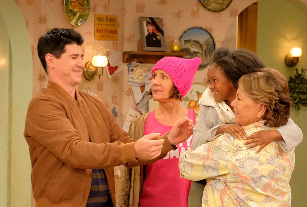 "Michael Fishman, Laurie Metcalf, Jayden Rey, and Roseanne Barr on ""Roseanne"" (ABC/Adam Rose)"