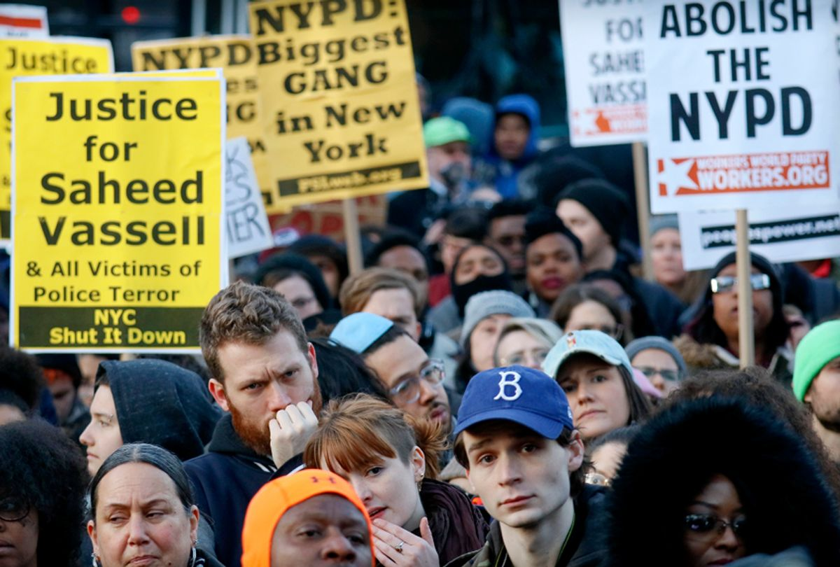 Hundreds rally to protest the fatal police shooting of Saheed Vassell, April 5, 2018, in Brooklyn. (AP/Bebeto Matthews)