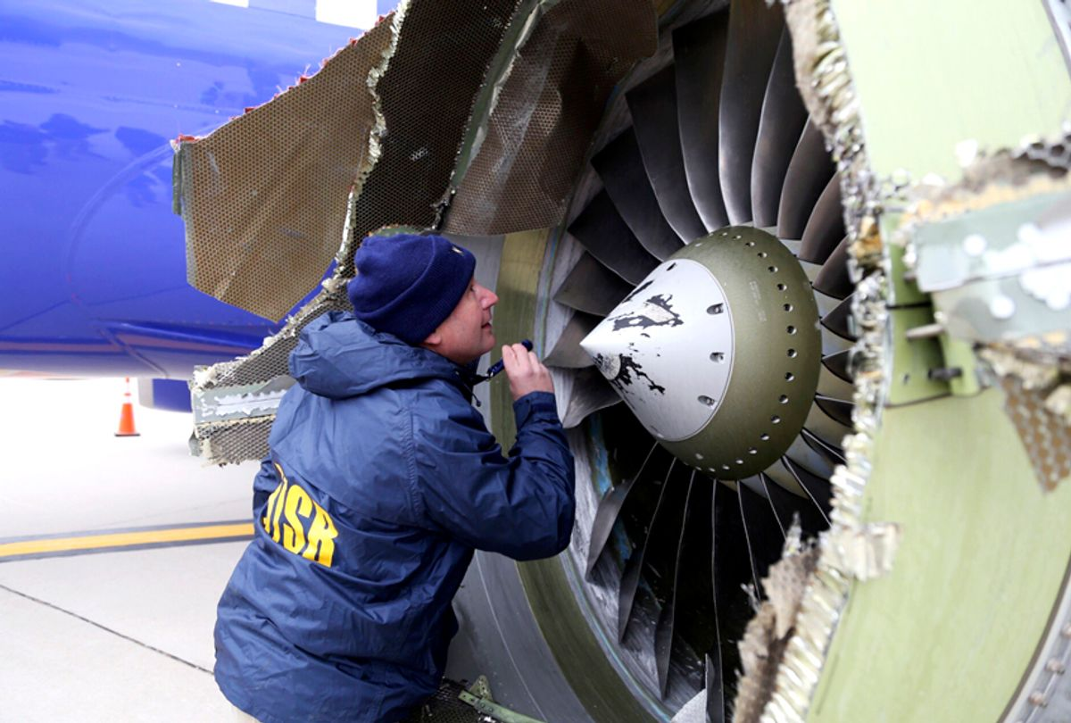 The damaged engine of the Southwest Airlines plane that Tammie Jo Shults landed in an emergency landing at Philadelphia International Airport. (NTSB via AP)