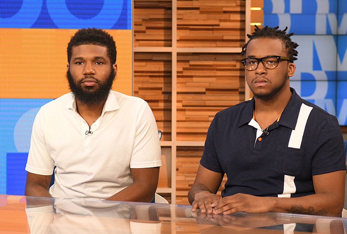"""Rashon Nelson and Donte Robinson, the two men arrested at a Starbucks, tell their story on """"Good Morning America,"""" April 20, 2018. (ABC/Lorenzo Bevilaqua)"""