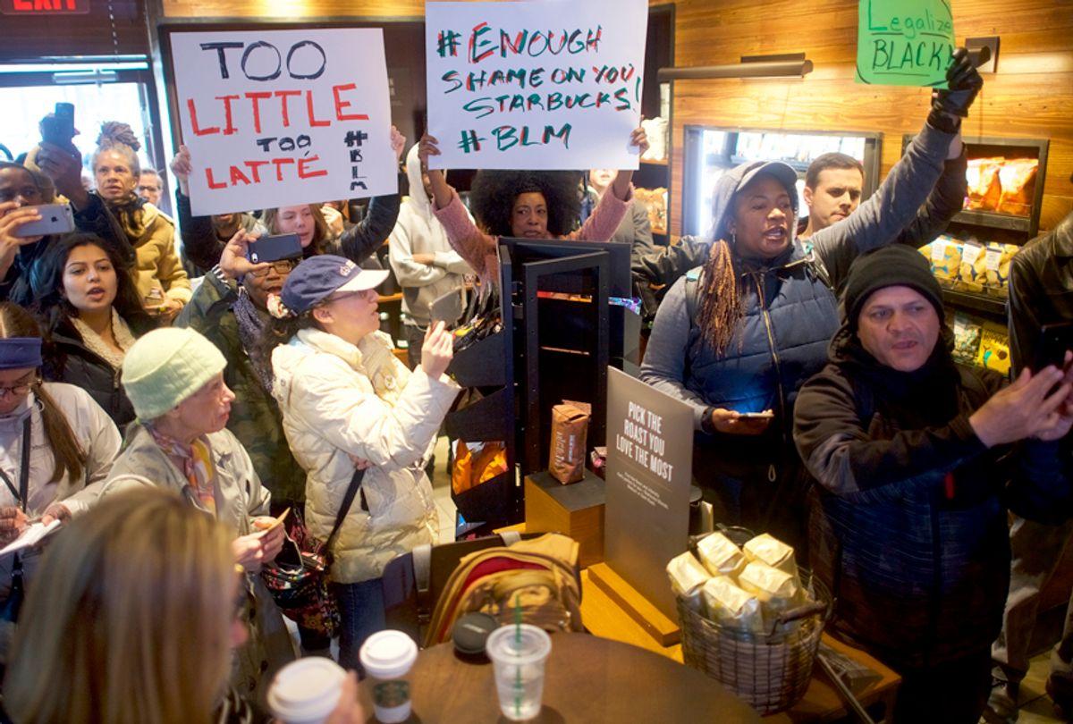 Demonstrators inside a Center City Starbucks on April 15, 2018 in Philadelphia, Pennsylvania. (Getty/Mark Makela)