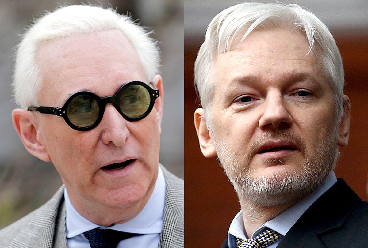 Roger Stone; Julian Assange (AP/Seth Wenig/Getty/Carl Court)