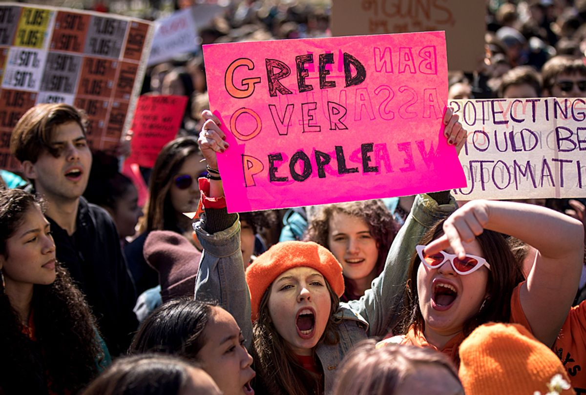 Student activists rally against gun violence, April 20, 2018. (Getty/Drew Angerer)