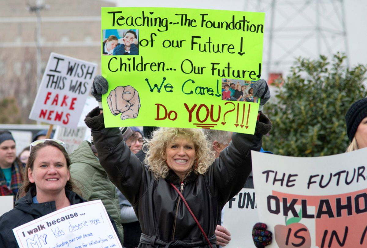 Oklahoma teachers rally at the state capitol, April 2, 2018. (Getty/J Pat Carter)