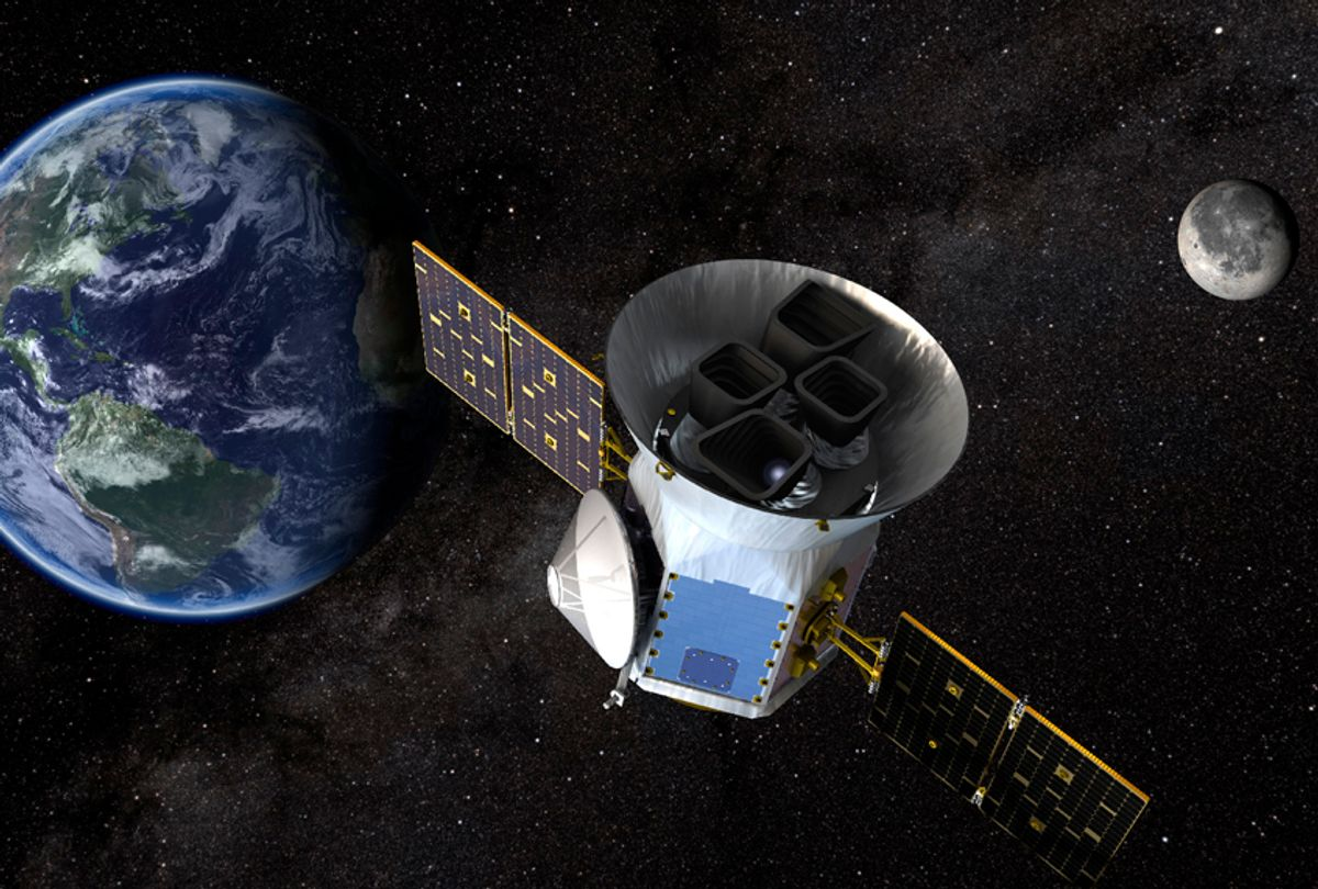 NASA's Transiting Exoplanet Survey Satellite (TESS) will identify exoplanets orbiting the brightest stars just outside our solar system. (NASA's Goddard Space Flight Center)
