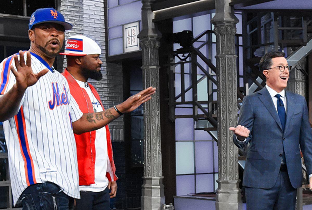 "Method Man, Ghostface Killah, and Stephen Colbert on ""The Late Show with Stephen Colbert"" (CBS/Scott Kowalchyk)"