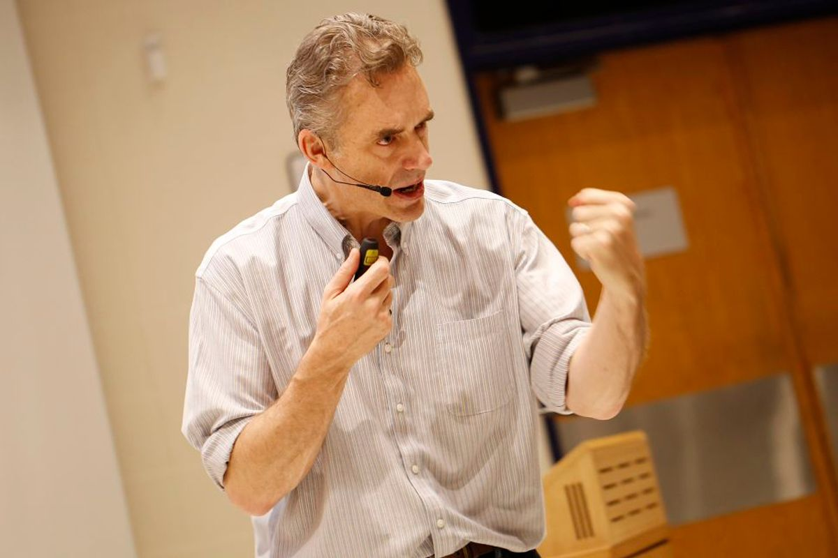 """TORONTO, ON - January 10, 2017. Jordan Peterson during his lecture at UofT. Peterson is the professor at the centre of a media storm because of his public declaration that he will not use pronouns, such as """"they,"""" to recognize non-binary genders . This lecture had no reference to the hot topic.        (Rene Johnston/Toronto Star via Getty Images) (Toronto Star Via Getty Images)"""