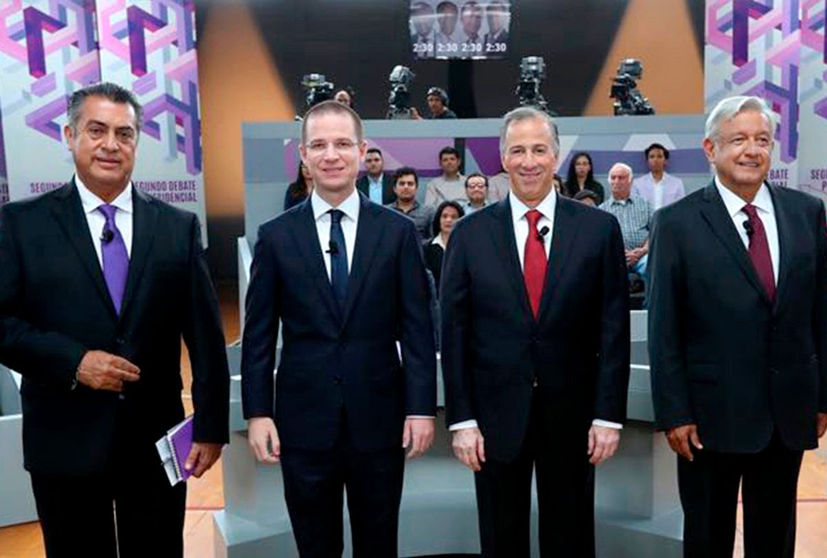 Presidential candidates Jaime Rodriguez, Ricardo Anaya, Jose Antonio Meade, and Andres Manuel Lopez Obrador attend the second of three debates, on Sunday, May 20, 2018. (INE via AP)