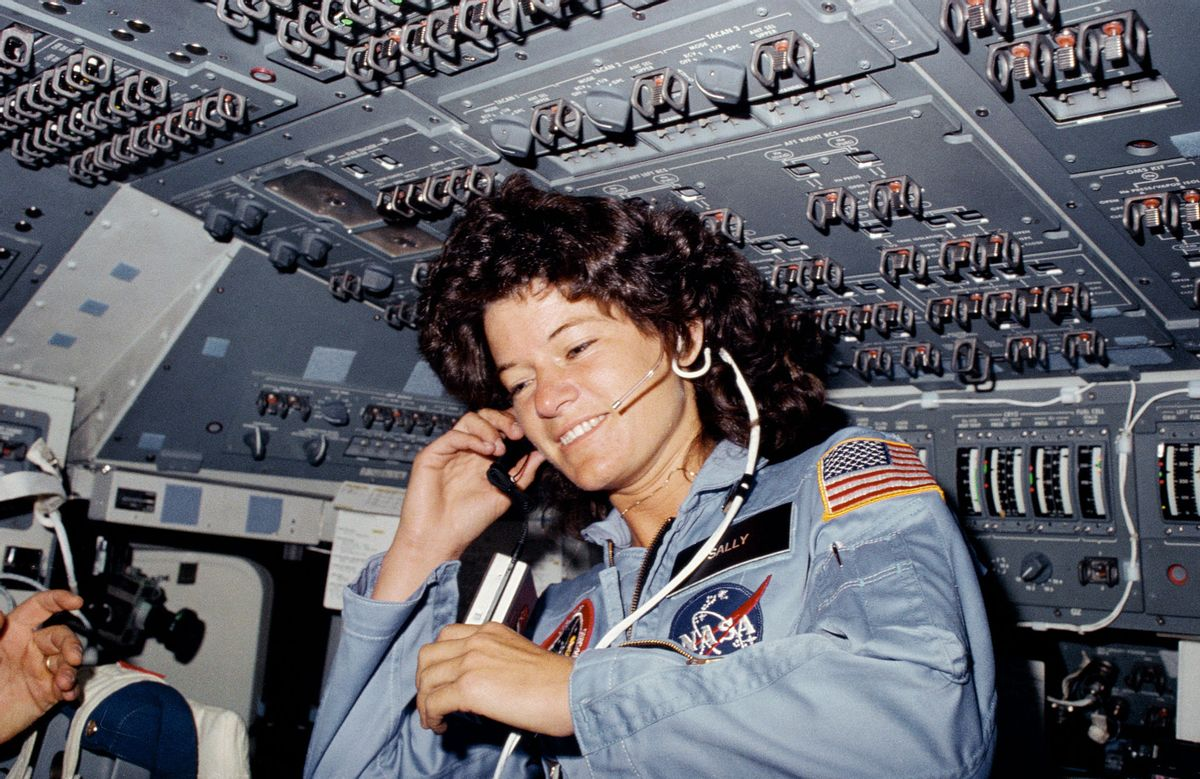 Astronaut Sally Ride on the flight deck of the space shuttle Challenger in 1983. (NASA/Wikicommons)