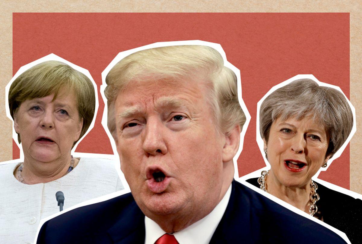 Angela Merkel; Donald Trump; Theresa May (AP/Getty/Salon)
