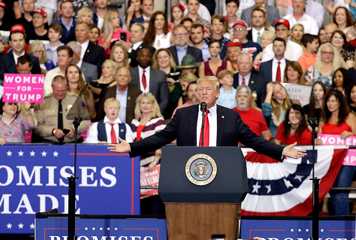 Donald Trump speaks at a rally. (AP/Mark Humphrey)