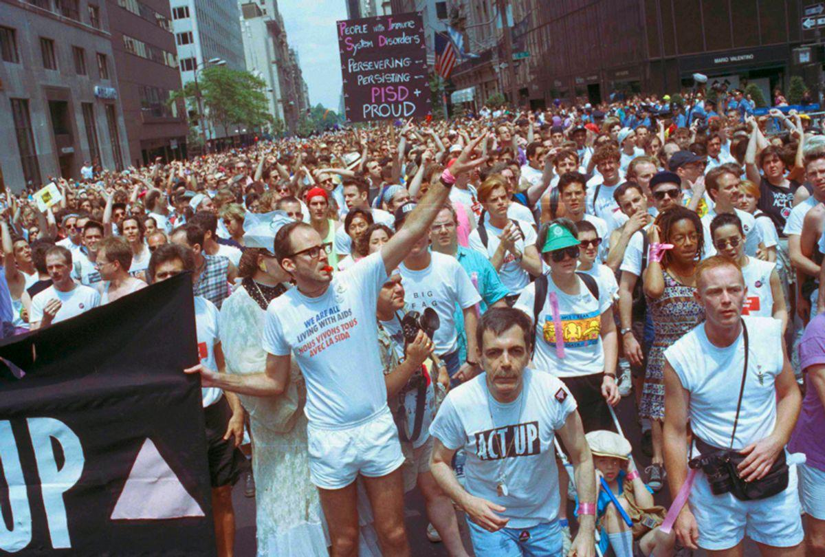 Members of ACT-UP march in New York's annual Gay Pride Parade, June 25, 1990. (AP/Joseph F. Major)