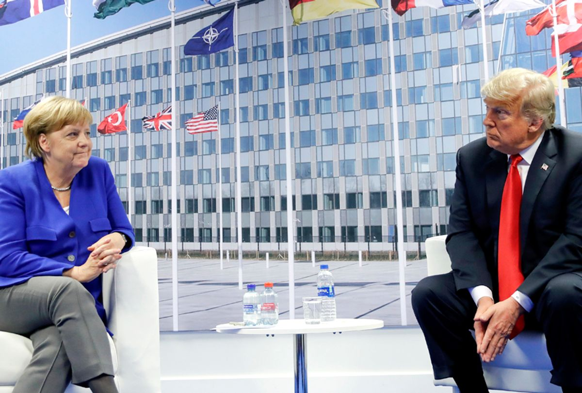 Donald Trump and German Chancellor Angela Merkel during their bilateral meeting, Wednesday, July 11, 2018 in Brussels, Belgium. (AP/Pablo Martinez Monsivais)