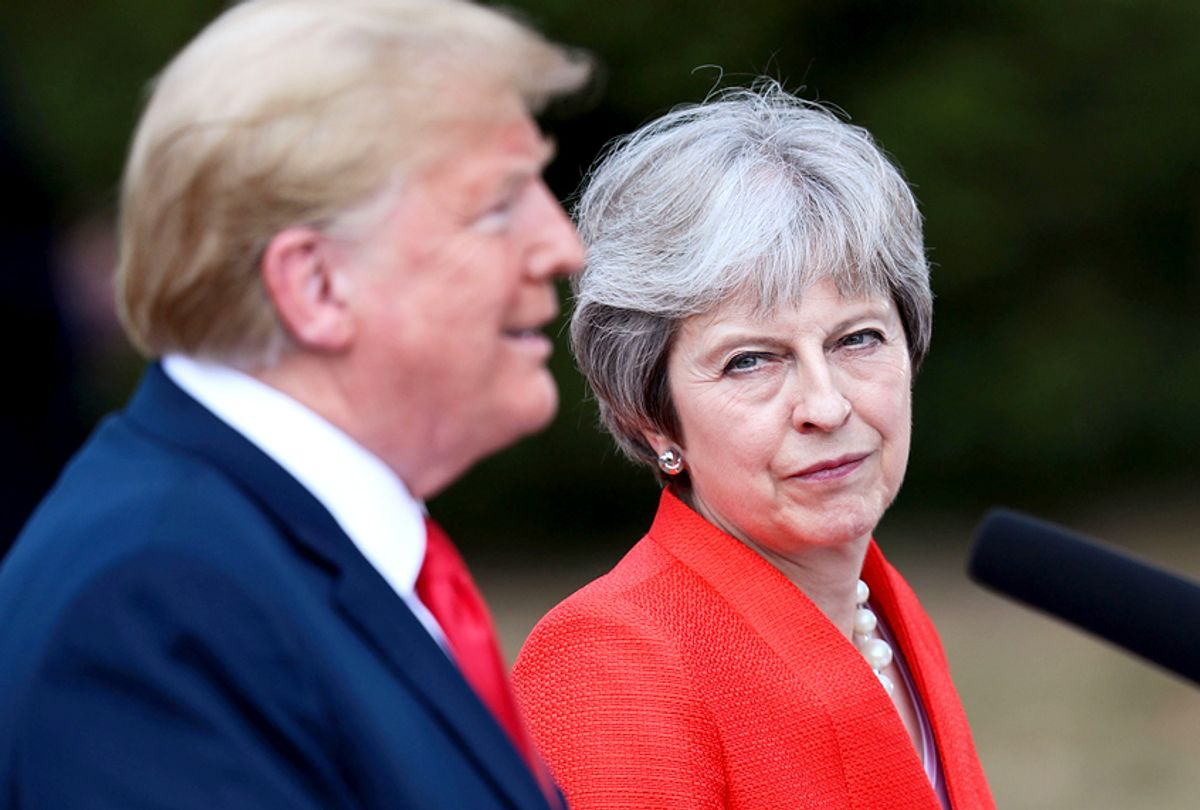 Theresa May and U.S. President Donald Trump attend a joint press conference following their meeting at Chequers on July 13, 2018 in Aylesbury, England. (Getty/Jack Taylor)
