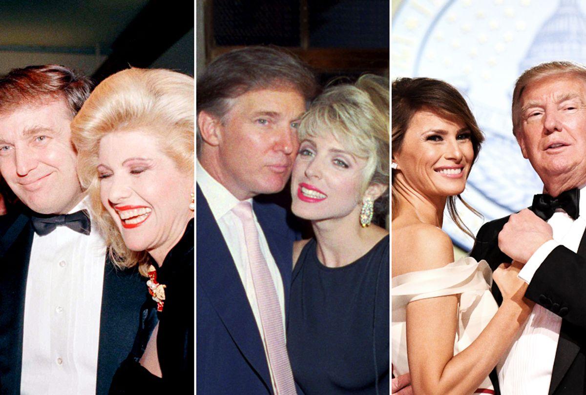 Donald Trump and Ivana Trump; Donald Trump and Marla Maples; Donald Trump and Melania Trump (Getty/AP)