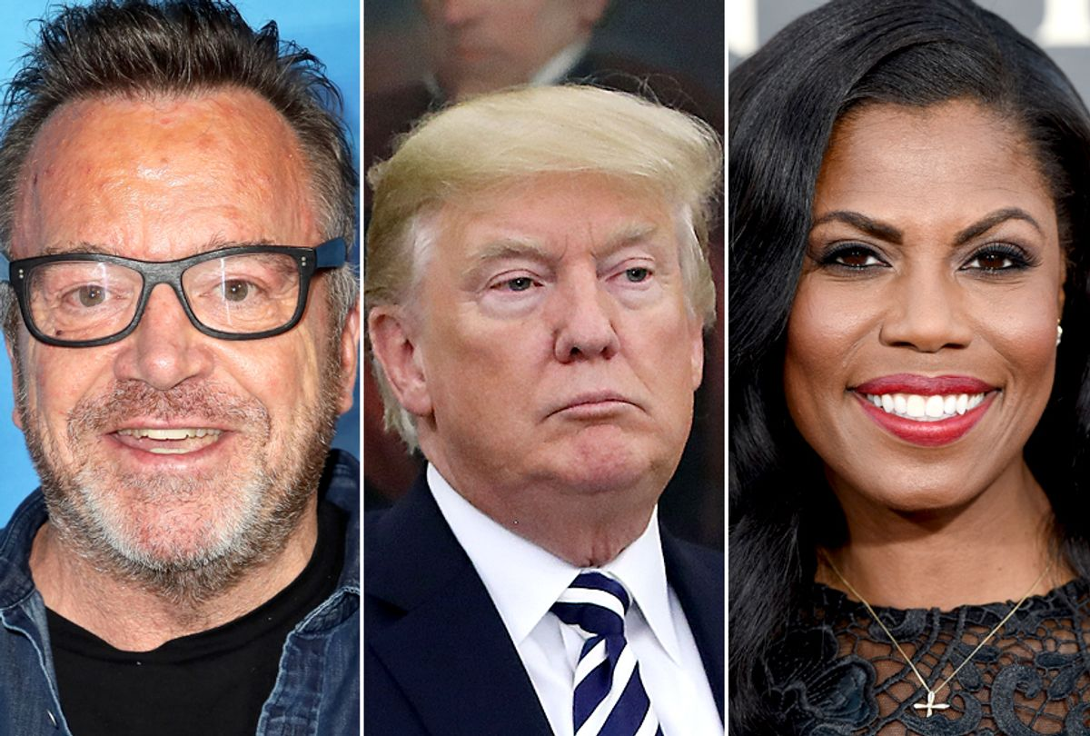 Tom Arnold; Donald Trump; Omarosa Manigault (Getty/David Livingston/Mark Wilson/AP/Chris Pizzello)