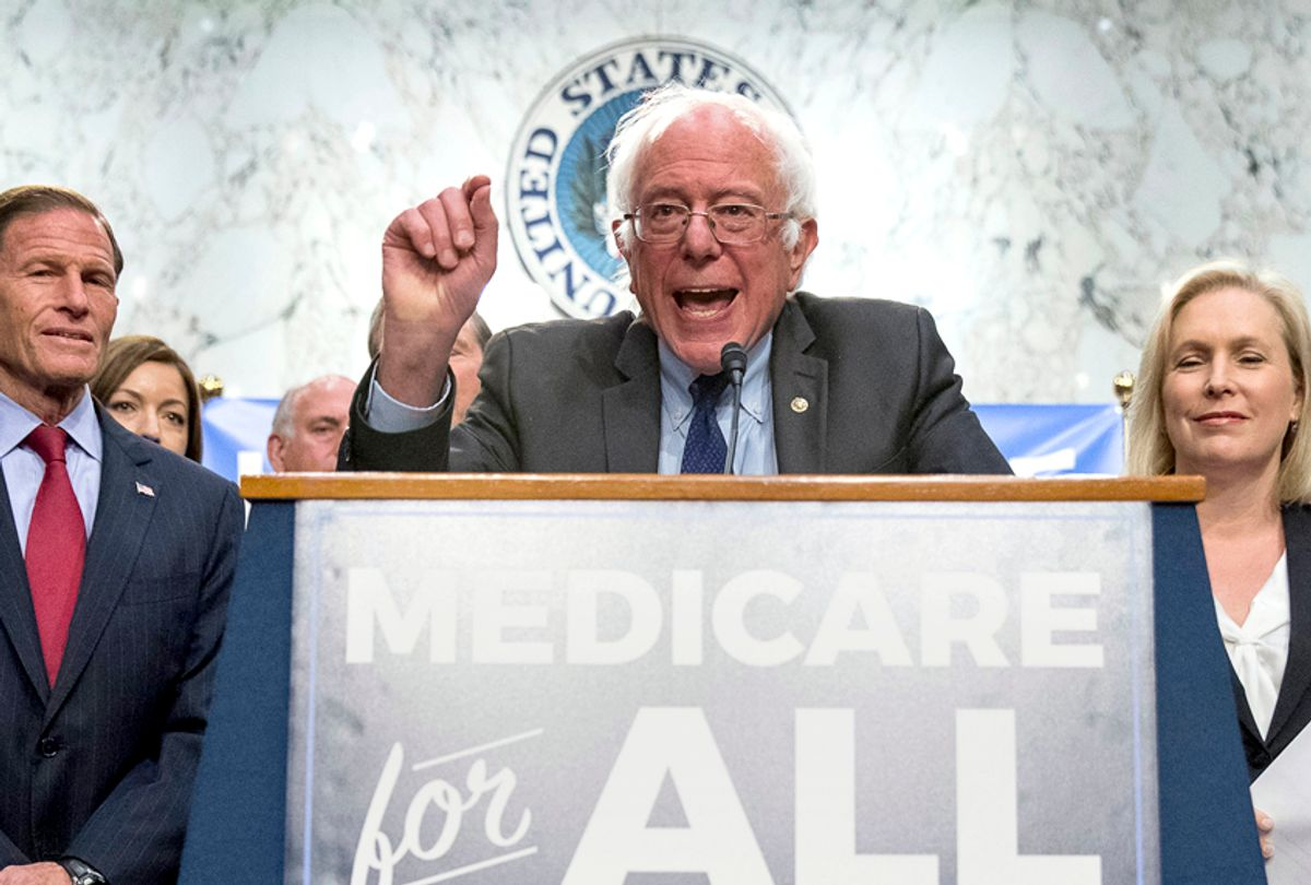 Bernie Sanders, joined by Richard Blumenthal and Kirsten Gillibrand, unveil their Medicare for All legislation to reform health care. (AP/Andrew Harnik)