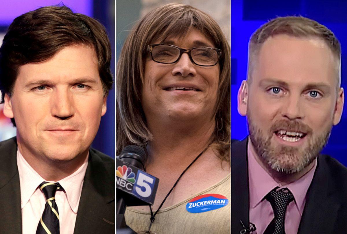 Tucker Carlson; Christine Hallquist; Chadwick Moore (AP/Richard Drew/Getty/Hillary Swift/YouTube/Fox News)
