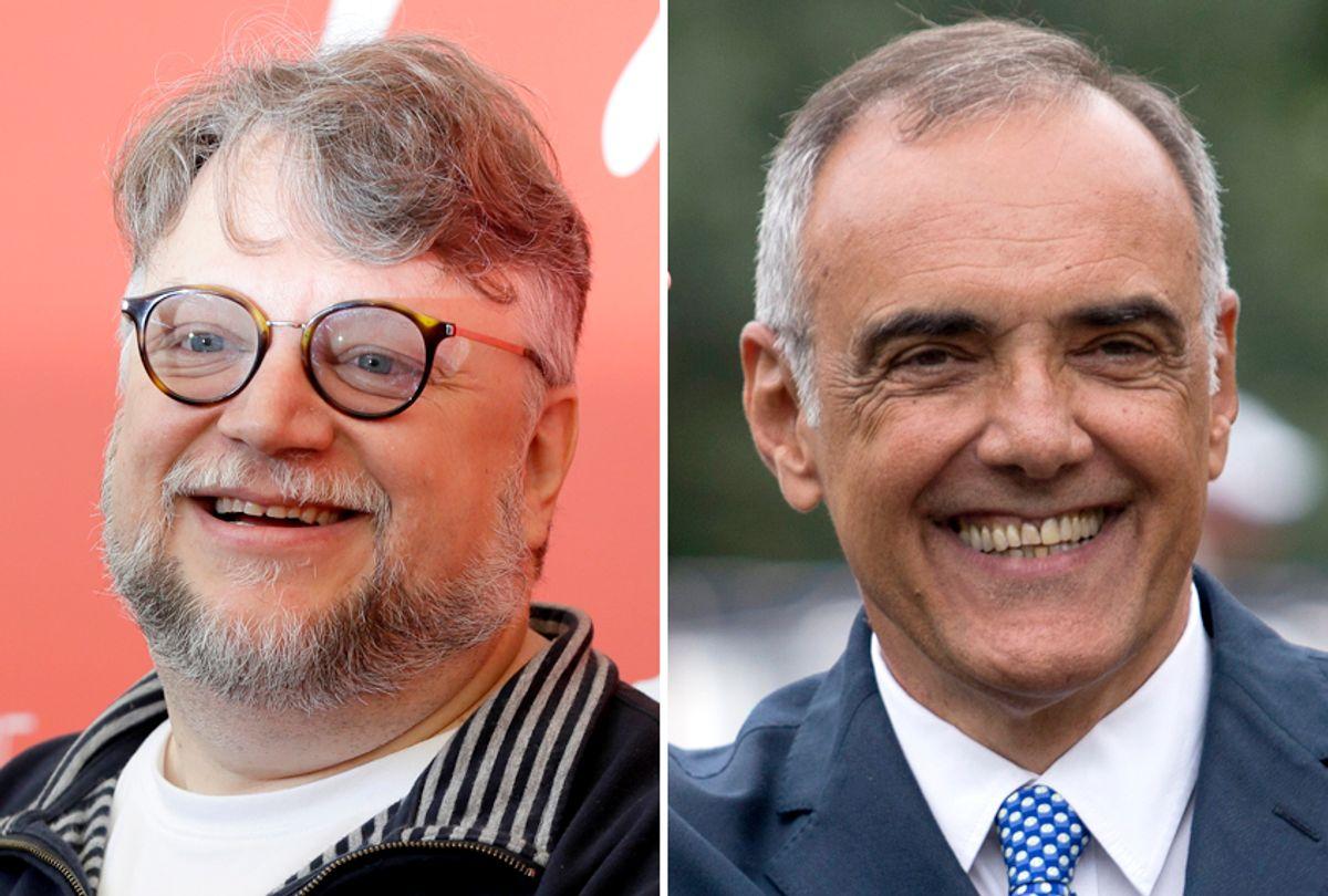 Guillermo del Toro; Alberto Barbera (AP/Kirsty Wigglesworth/David Azia)
