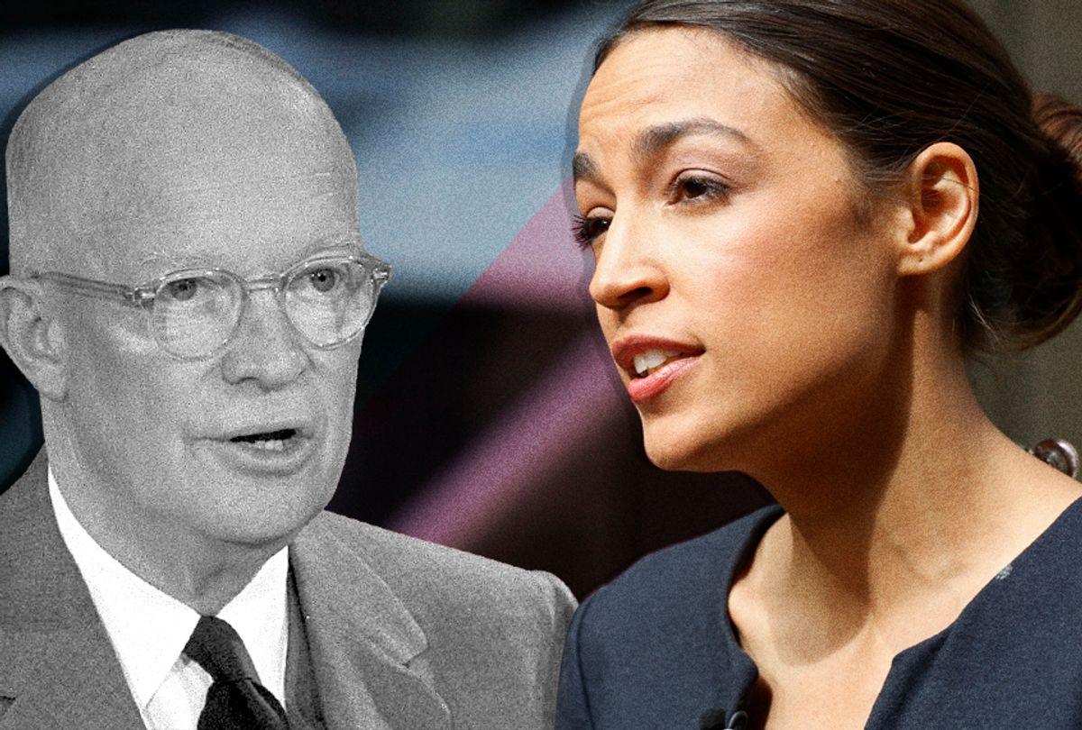 Dwight Eisenhower; Alexandria Ocasio-Cortez (AP/Photo Montage by Salon)