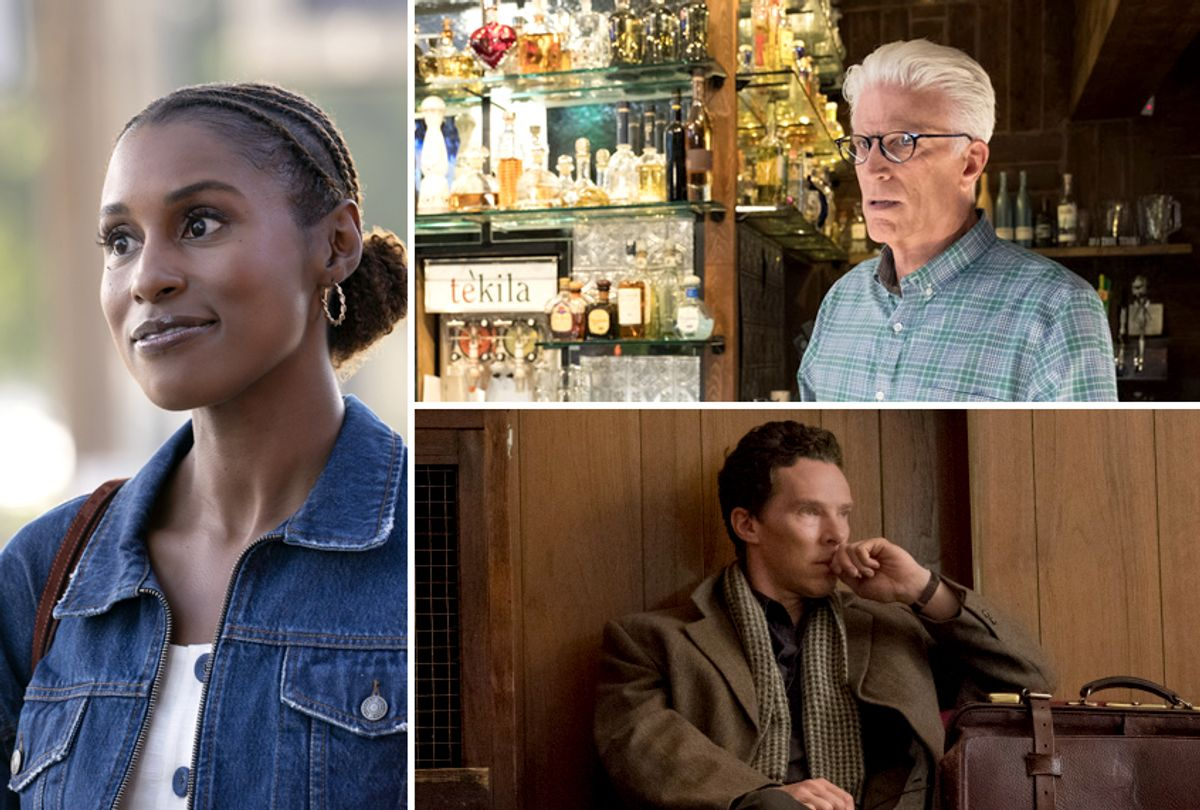 """Issa Rae in """"Insecure;"""" Ted Danson in """"The Good Place;"""" Benedict Cumberbatch in """"Patrick Melrose"""" (HBO/NBC/Showtime)"""