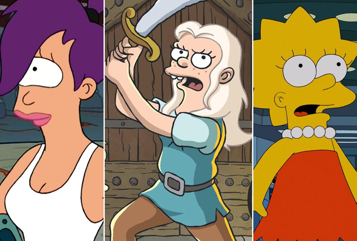 "Katey Sagal as Turanga Leela in ""Futurama;"" Abbi Jacobson as Princess Tiabeanie (""Bean"") in ""Disenchantment;"" Yeardley Smith as Lisa Simpson in ""The Simpsons"" (Comedy Central/Netflix/Fox)"