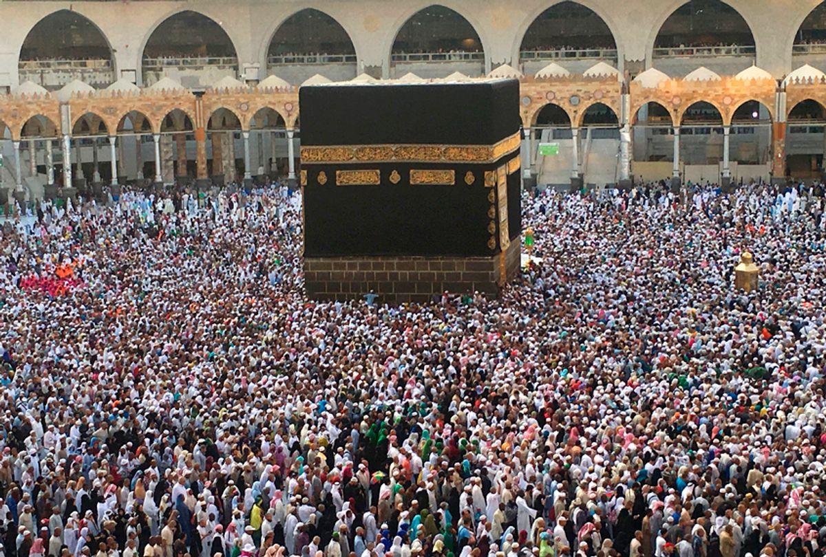 Muslim pilgrims circumambulate the Kaaba, Islam's holiest shrine, at the Grand Mosque in Saudi Arabia's holy city of Mecca on September 3, 2017, during the annual Hajj pilgrimage. (Getty/Karim Sahib)