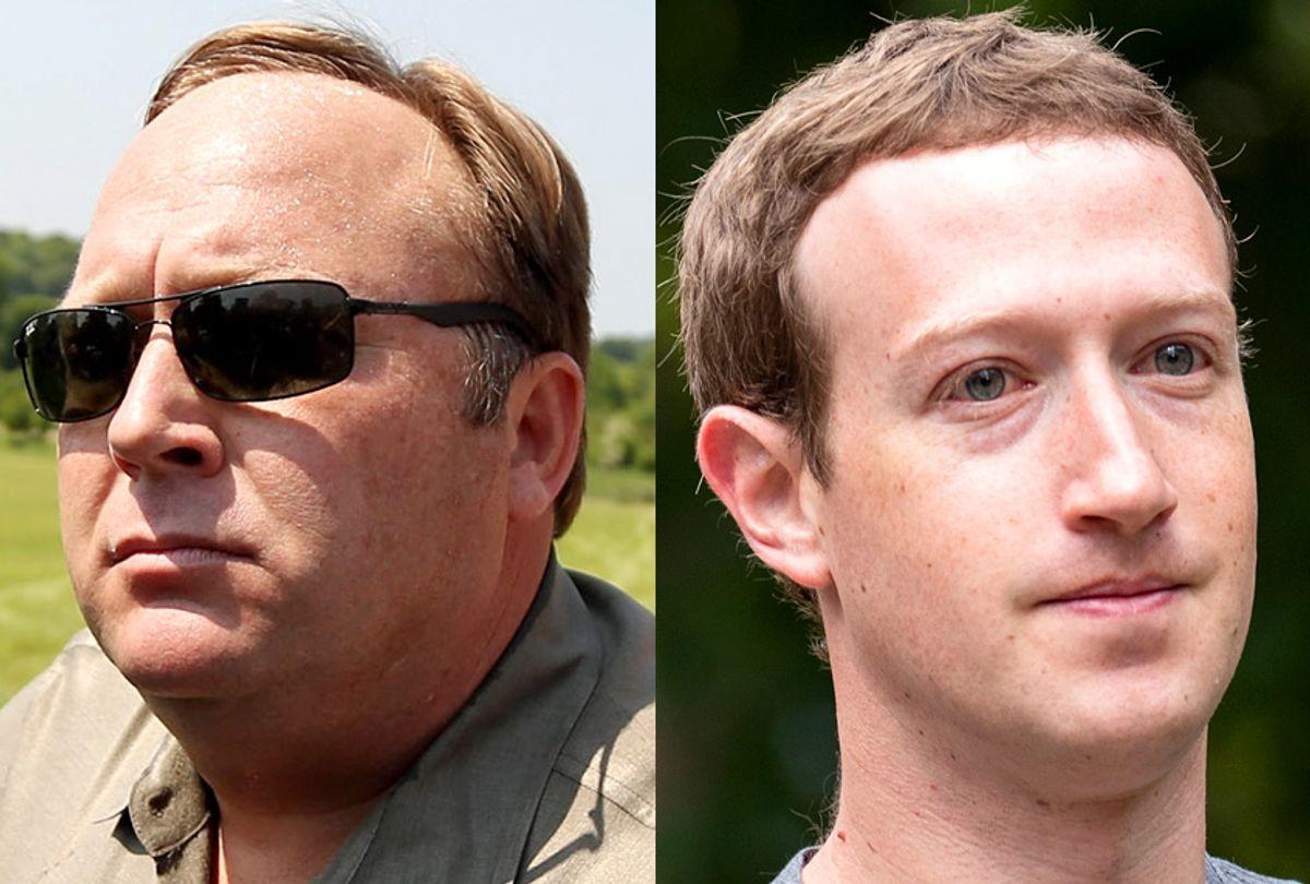Alex Jones; Mark Zuckerberg (Getty/Oli Scarff/Drew Angerer)