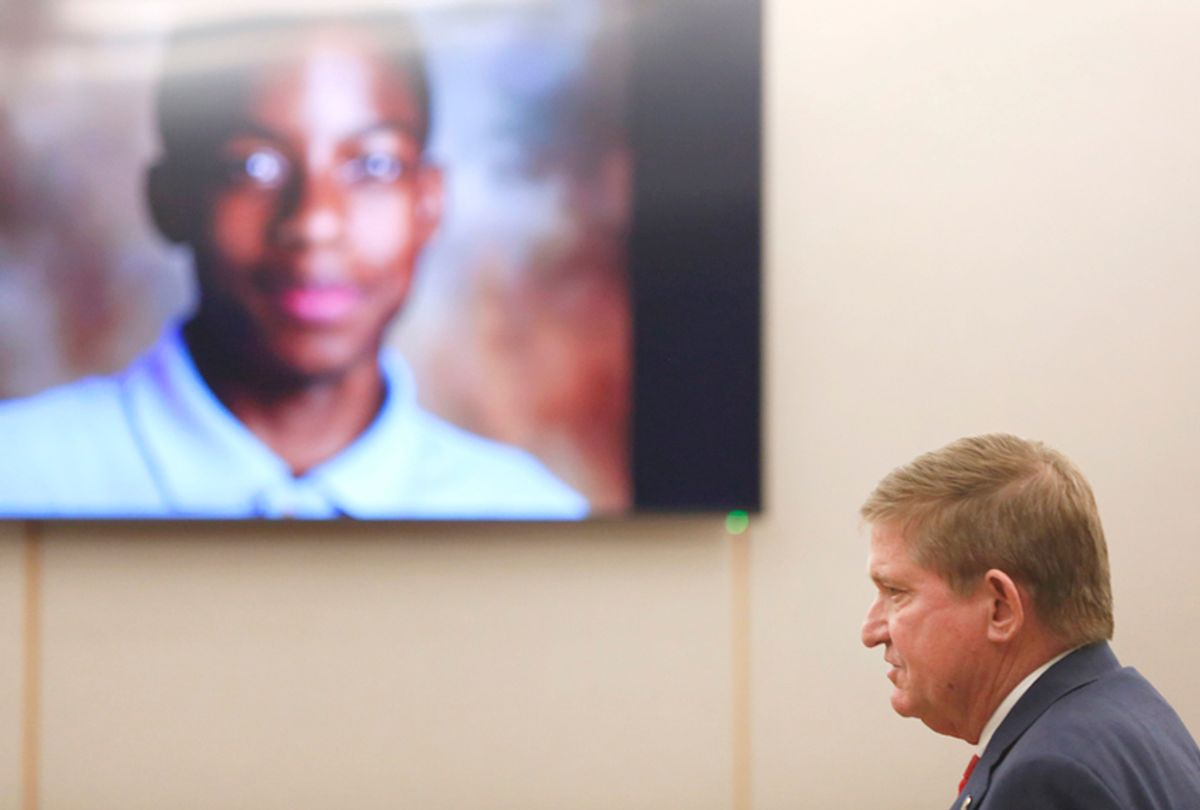Jordan Edwards is shown on a screen as lead prosecutor Michael Snipes gives a closing argument during the eighth day of the trial of fired Balch Springs police officer Roy Oliver, who is charged with the murder of 15-year-old Jordan Edwards on Monday, Aug. 27, 2018. (Rose Baca/The Dallas Morning News via AP)