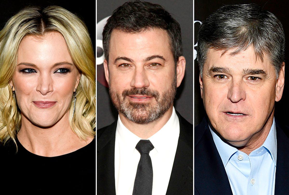 Megyn Kelly; Jimmy Kimmel; Sean Hannity (AP/Evan Agostini/Andy Kropa)