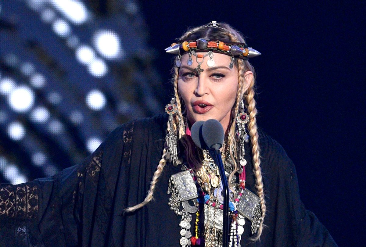 Madonna presents a tribute to Aretha Franklin at the MTV Video Music Awards on Monday, Aug. 20, 2018, (AP/Chris Pizzello)
