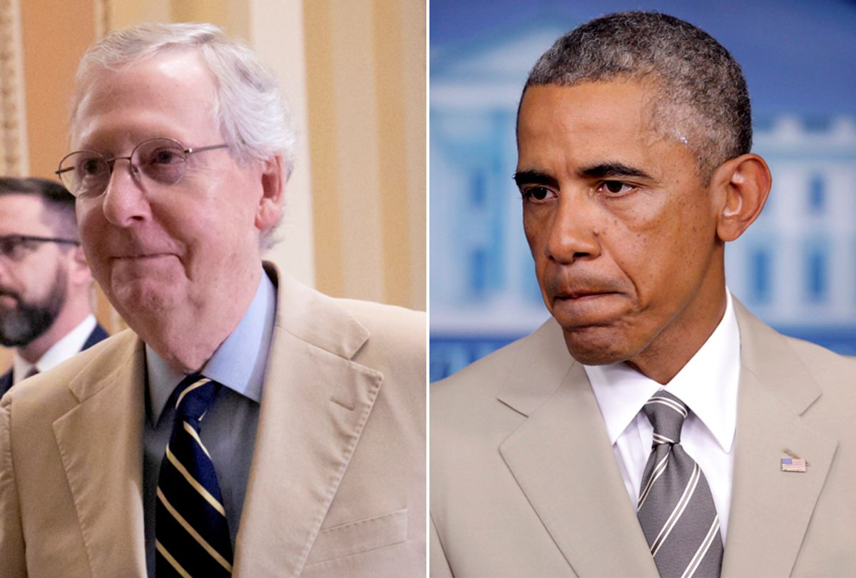 Mitch McConnell, Aug. 16, 2018; Barack Obama, Aug. 28, 2014 (AP/J. Scott Applewhite/Getty/Alex Wong)