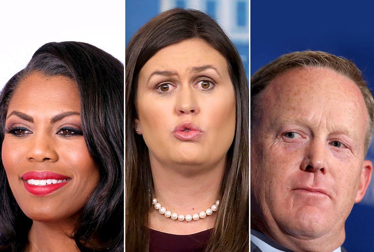 Omarosa Manigault; Sarah Huckabee Sanders; Sean Spicer (Getty/Frazer Harrison/Mark Wilson/Win McNamee)