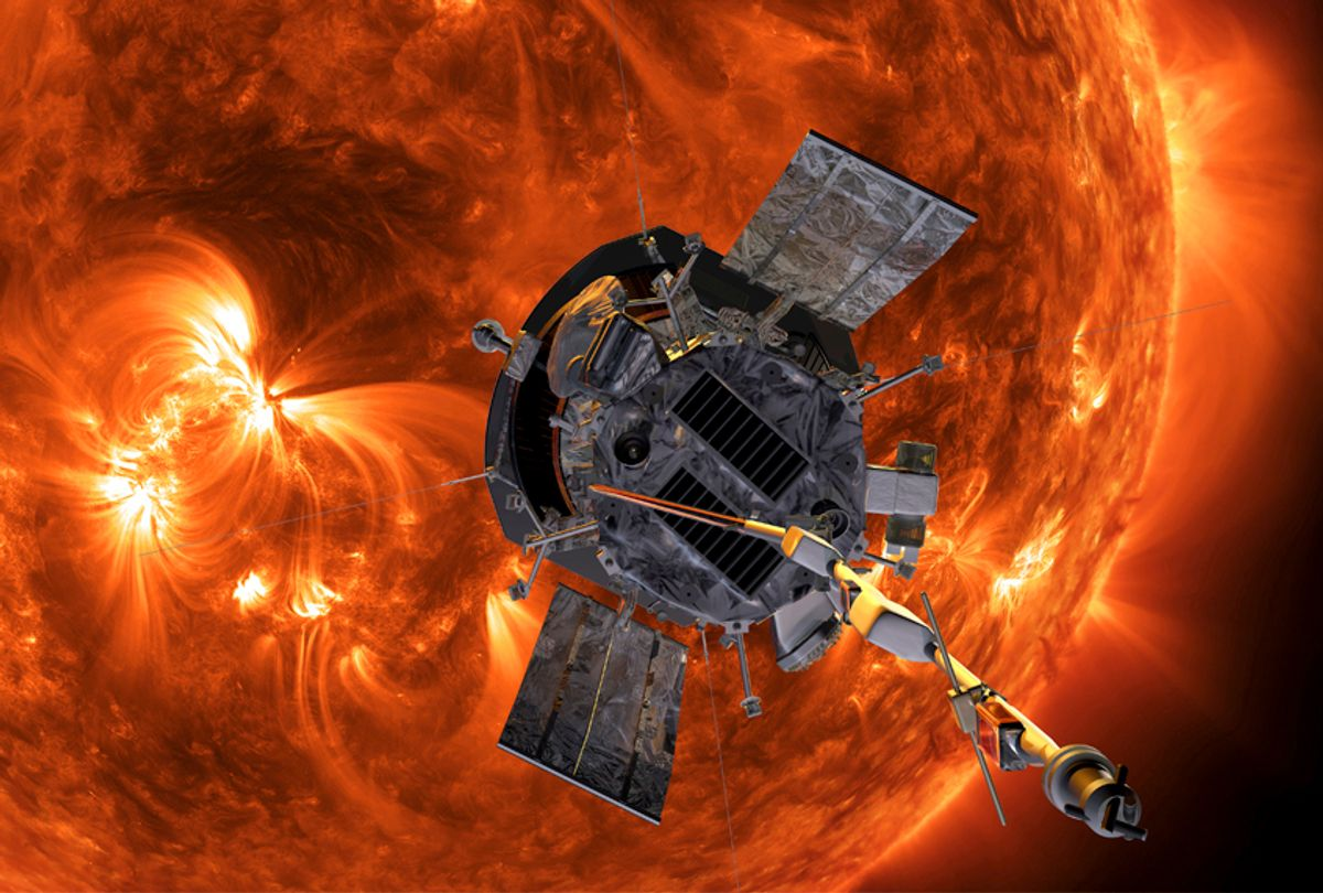 This image made available by NASA shows an artist's rendering of the Parker Solar Probe approaching the Sun.  (AP/NASA)