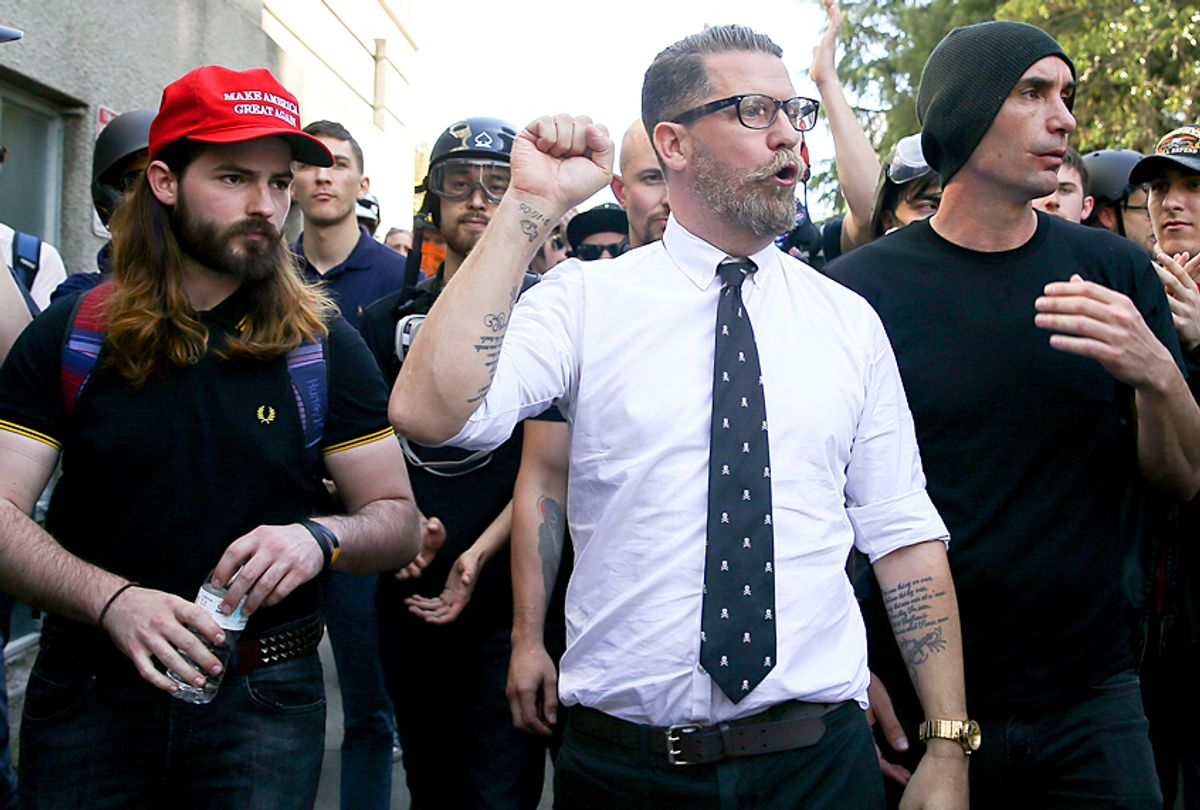 Gavin McInnes, founder of Proud Boys, during a rally. (Getty/Elijah Nouvelage)