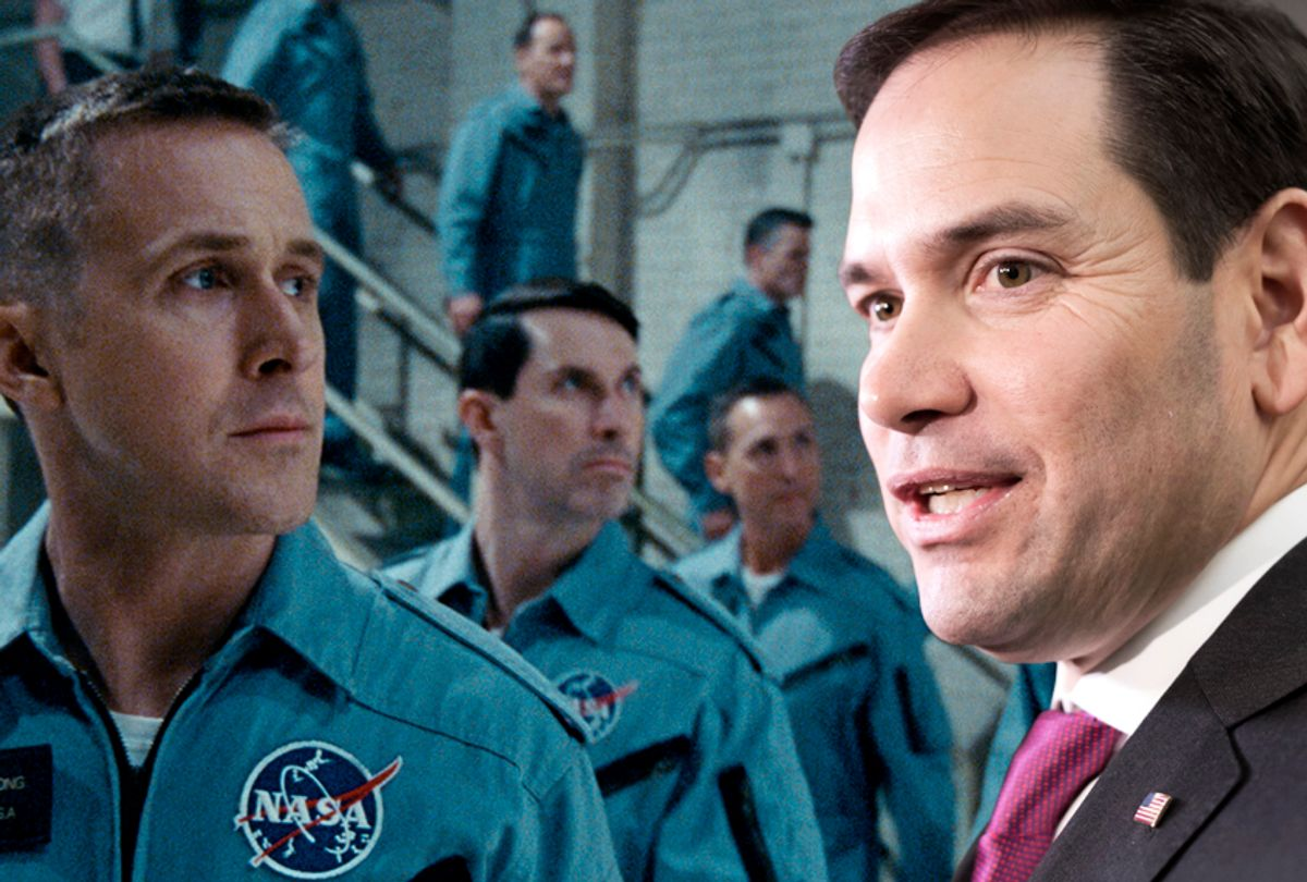 """Ryan Gosling as Neil Armstrong in """"First Man;"""" Marco Rubio (AP/Universal Pictures)"""