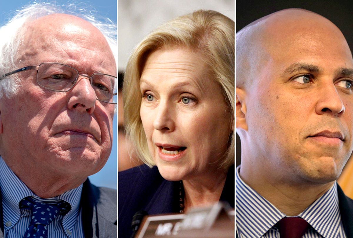 Bernie Sanders; Kirsten Gillibrand; Cory Booker (Getty/AP)