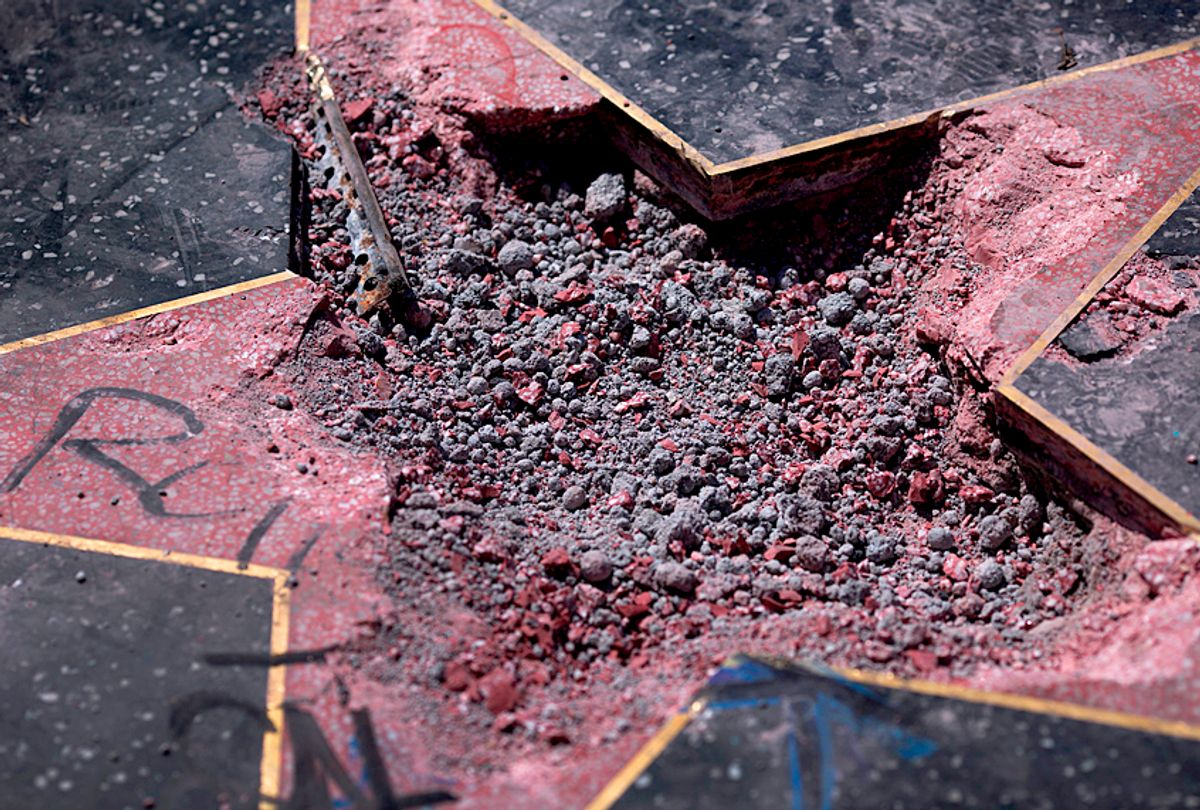 Rubble remains in the place where the Star of Donald Trump on the Hollywood Walk of Fame was destroyed by a vandal on July 25, 2018 (Getty/David McNew)