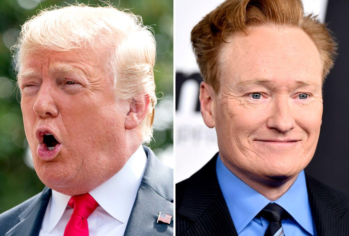 Donald Trump; Conan O'Brien (AP/Andrew Harnik/Evan Agostini)
