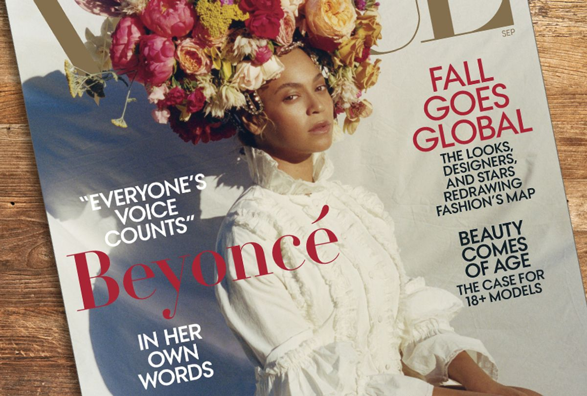 """Beyonce on the cover of """"Vogue"""" (Vogue/Getty/Salon)"""