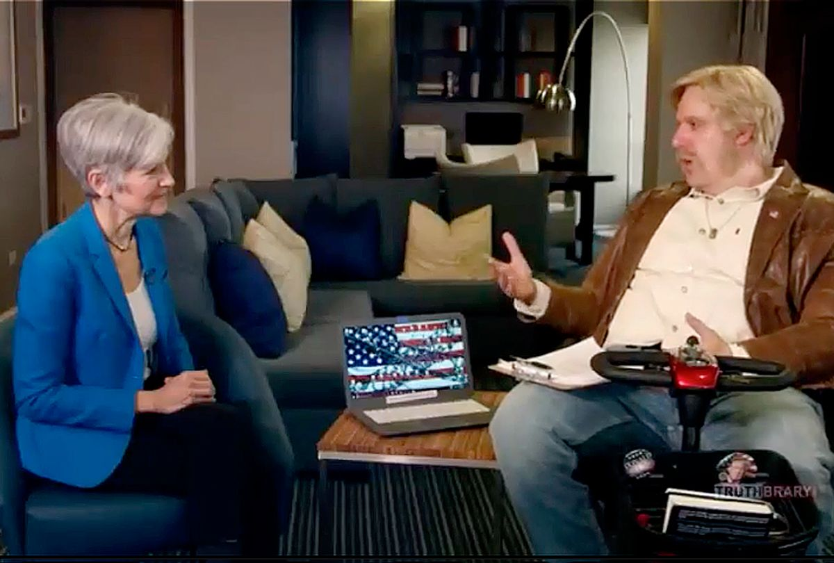 """Jill Stein and Sacha Baron Cohen in """"Who Is America?"""" (Showtime)"""