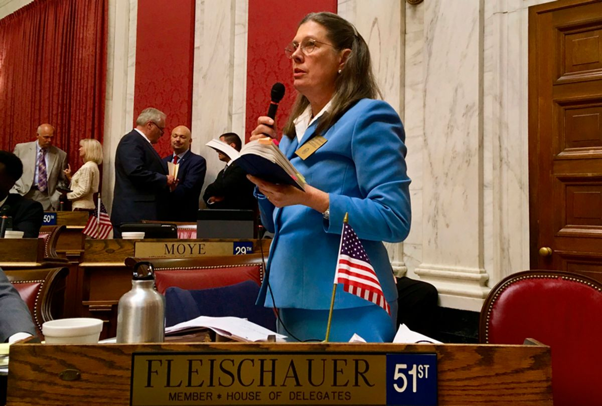 Democratic Delegate Barbara Evans Fleischauer asks a question during an impeachment hearing involving West Virginia Supreme Court justices in the House of Delegates chambers in Charleston, W.Va., Aug. 13, 2018. (AP/John Raby)
