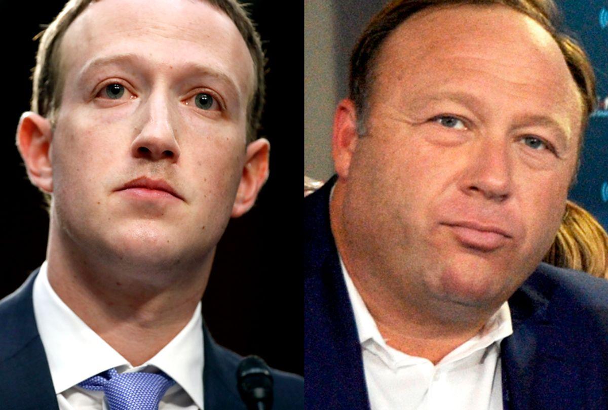 Mark Zuckerberg; Alex Jones (AP/Alex Brandon/Getty/Ben Jackson)