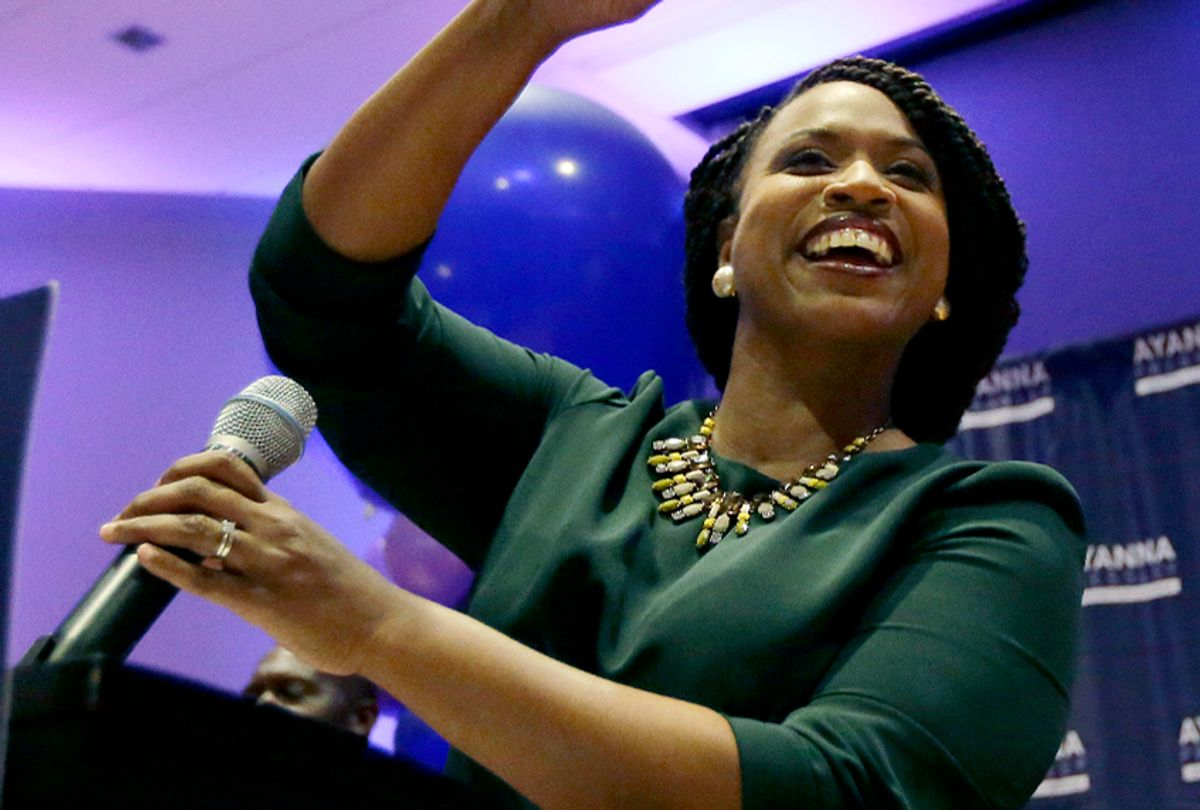 Boston City Councilor Ayanna Pressley celebrates victory over U.S. Rep. Michael Capuano, D-Mass., in the 7th Congressional House Democratic primary, Tuesday, Sept. 4, 2018, in Boston. (AP/Steven Senne)