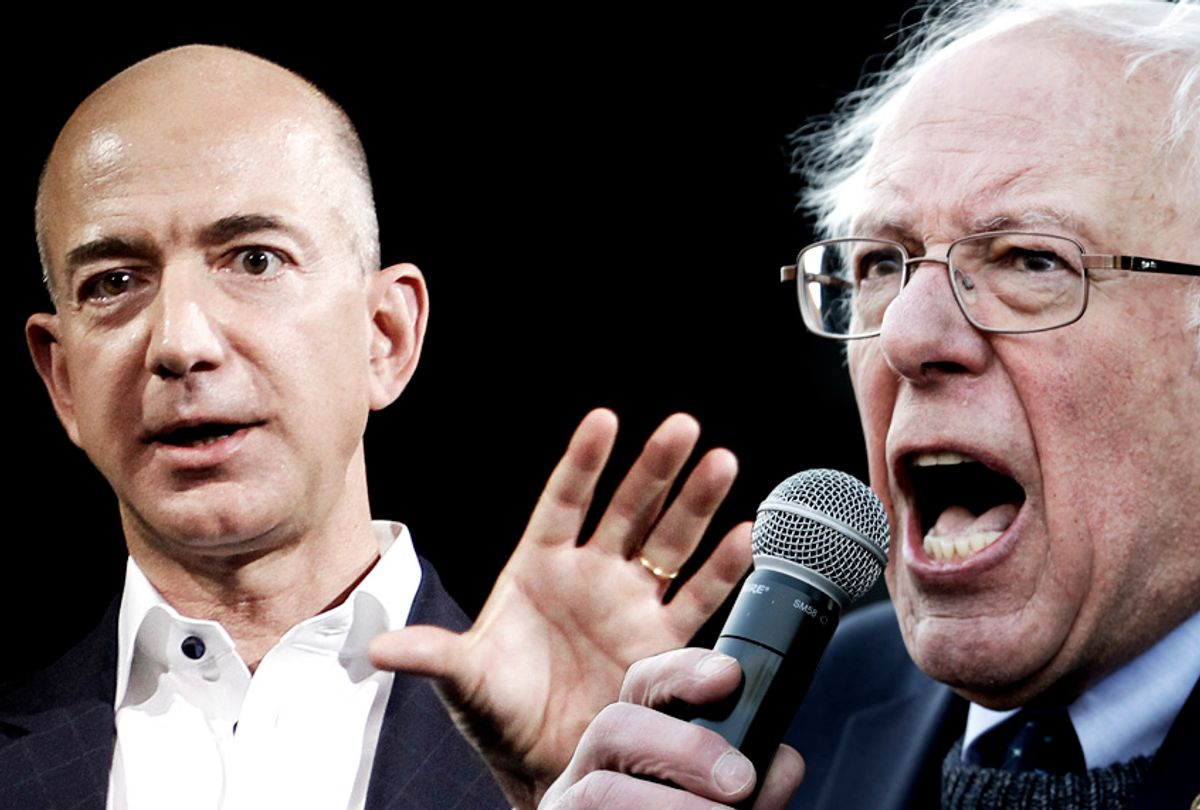 Jeff Bezos; Bernie Sanders (AP/Salon)